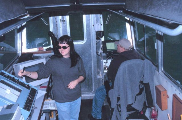 Assistant Survey Tech Maureen Goff and Ordinary Seaman Matt Monaghan at work in RA-2. Picture