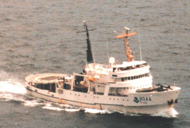NOAA Ship DAVID STARR JORDAN as seen from MD500 helicopter during marine mammal studies in the tropical east Pacific Ocean. Picture