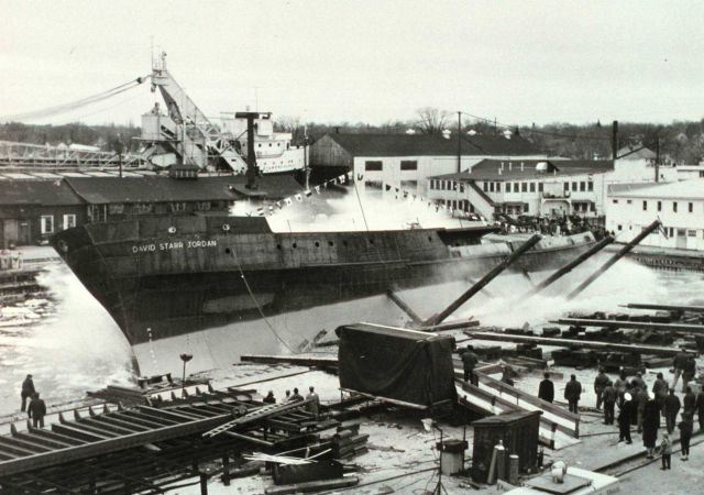 Launching of the DAVID STARR JORDAN at Christy Shipyard. Picture