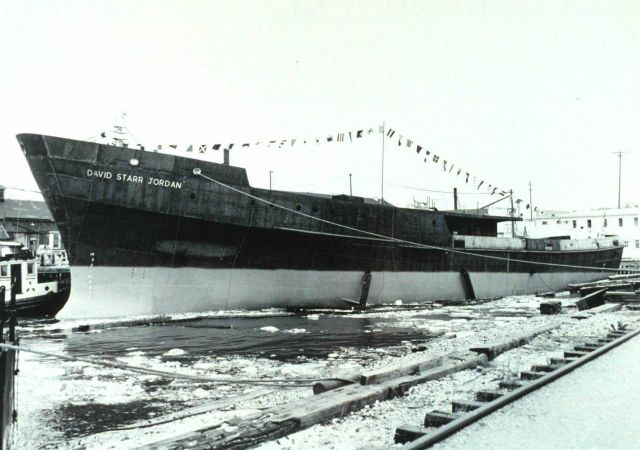 Hull of DAVID STARR JORDAN following launching at Christy Shipyard. Picture