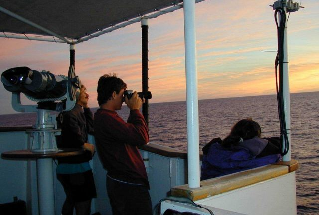 Sunrise photography on the flying bridge of the NOAA Ship McARTHUR while conducting operations for STAR 2000 in the Eastern Tropical Pacific. Picture