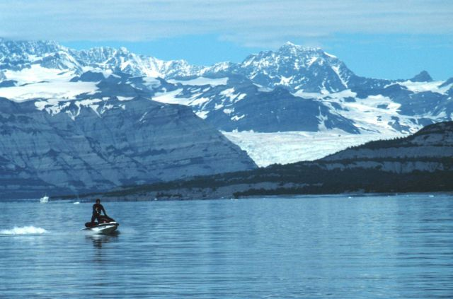 Bill Neff jet skiing at Icy Bay. Picture