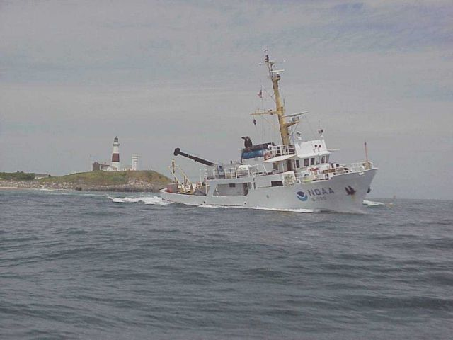 NOAA Ship RUDE off Montauk Lighthouse. Picture