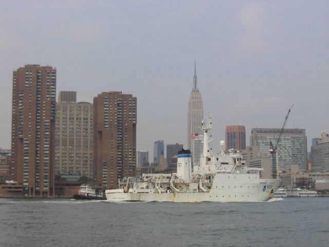 NOAA Ship THOMAS JEFFERSON in East River with Empire State Building in background. Picture