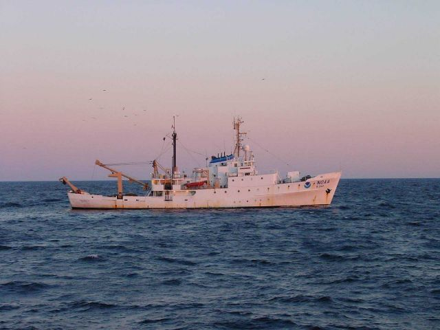 NOAA Ship ALBATROSS IV with trawling into the sunset. Picture