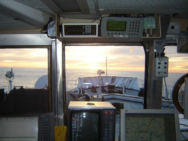 View from the pilot house of the NOAA Ship DELAWARE II at sunset. Picture