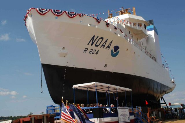 NOAA Ship OSCAR DYSON at launching ceremony at VT Halter Marine, Inc., shipyard. Picture