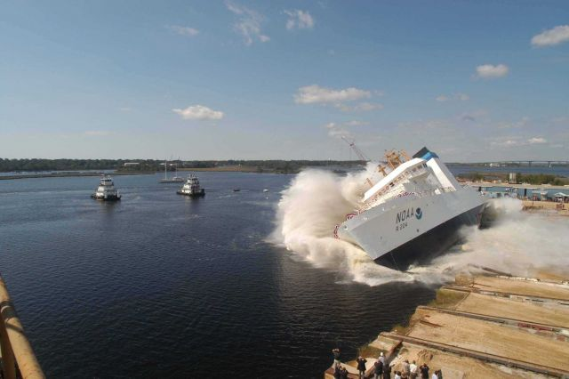NOAA Ship OSCAR DYSON being launched at VT Halter Marine, Inc., shipyard. Picture