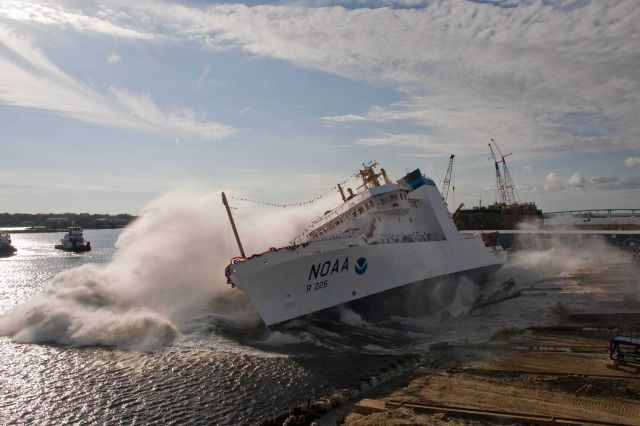 The NOAA Ship PISCES is launched at VT Halter Marine, Inc., shipyard. Picture