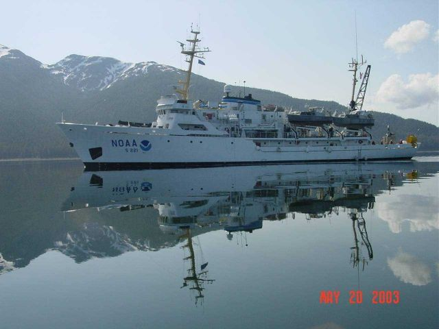 NOAA Ship RAINIER and its reflection in Peril Strait on a very calm day. Picture
