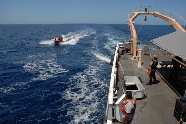 Small boat returning to the NOAA SHIP DAVID STARR JORDAN after marine mammal observation operations. Picture