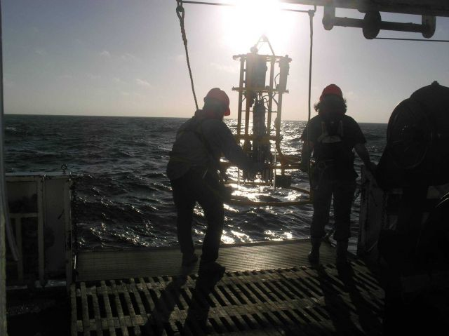 Oceanographer Steve Pierce and Survey Tech Lillian conducting CTD cast off the Miller Freeman 2005 NWFSC Acoustic Hake Survey. Picture