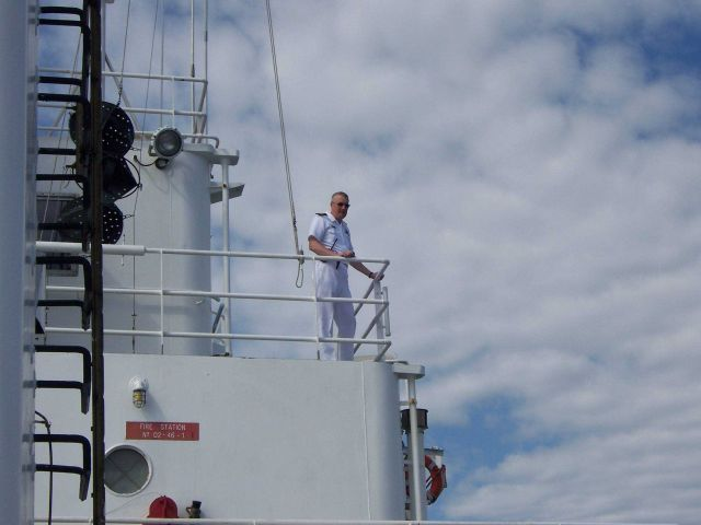Captain Ray Slagle conning the NOAA Ship THOMAS JEFFERSON while coming alongside. Picture