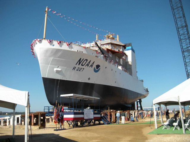 The NOAA Ship BELL SHIMADA at the Moss Point Shipyard on its launching day. Picture