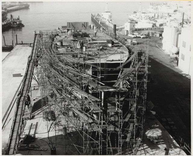 Coast and Geodetic Survey Ship SURVEYOR under construction at National Steel and Shipbuilding shipyard. Picture