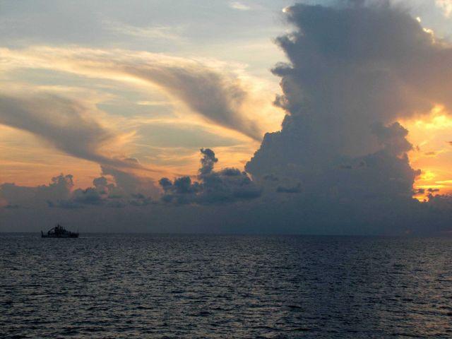 NOAA Ship HENRY BIGELOW seen in the sunset during Deepwater Horizon disaster studies. Picture