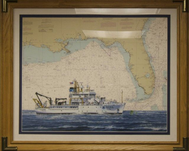 Painting of NOAA Ship PISCES superimposed on a chart of the Gulf of Mexico. Picture