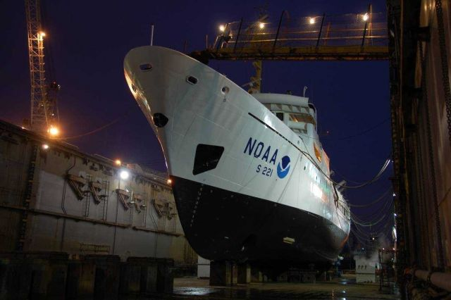 NOAA Ship RAINIER in drydock at Todd Pacific Shipyards. Picture