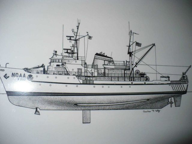 Line drawing of NOAA Ship MILLER FREEMAN by Charles R Picture