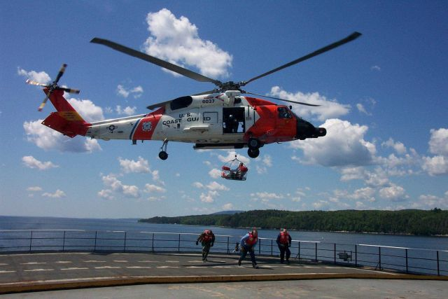 Helicopter drills in cooperation with the United States Coast Guard off the Maine Maritime Academy Training Vessel STATE OF MAINE. Picture