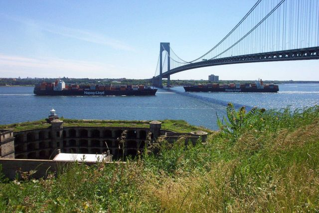 Two containerships passing each other at Verrazano Narrows Bridge Picture