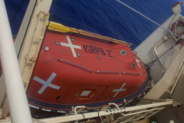 A lifeboat on the SEALAND COMMITMENT. Picture