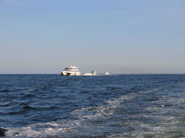 Sea Jet I, the Foxwoods ferry running past the New London Ledge Lighthouse. Picture