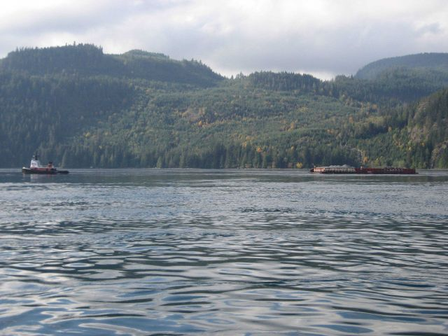 Tug and barge in the Inside Passage. Picture
