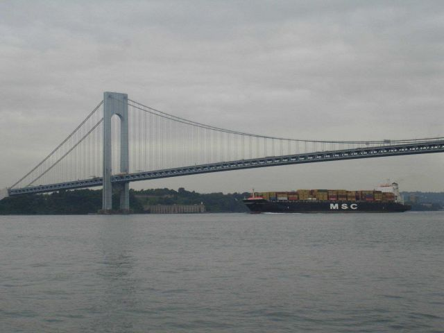 Outbound containership passing under Verrazano Bridge. Picture