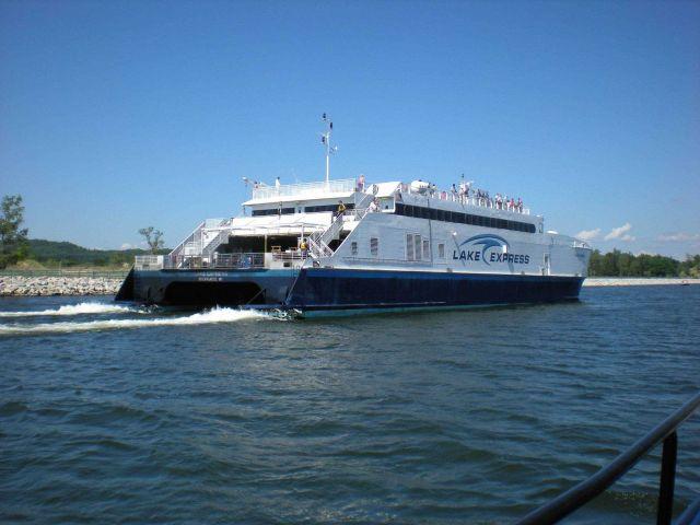 Catamaran ferry LAKE EXPRESS entering Muskegon. Picture