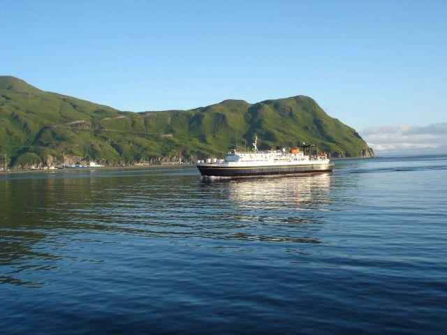Alaska State Ferry M/V TUSTUMENA entering Dutch Harbor. Picture