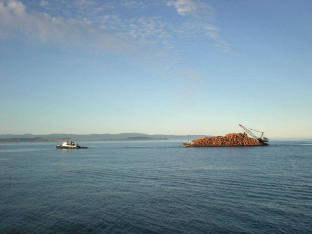 A tug towing a barge-load of logs somewhere in the Inside Passage. Picture