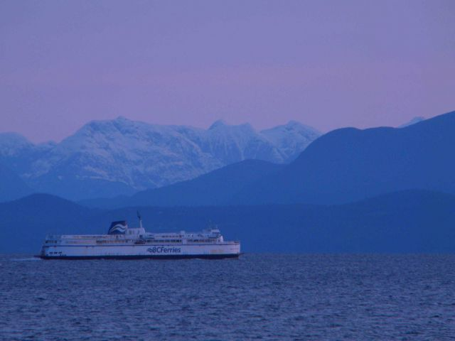 A BC ferry boat at twilight. Picture