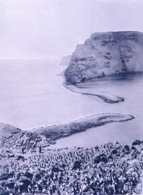 A view of the sand bars at the entrance to the harbor formed by the caldera at St Picture