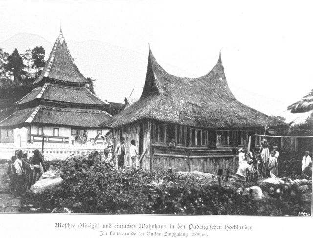 Mosque and dwellings in the Padang Highlands on the west coast of Sumatra Picture