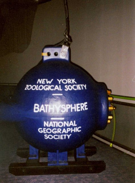 A full-size replica of William Beebe's bathysphere on display at Mystic Seaport Aquarium. Picture