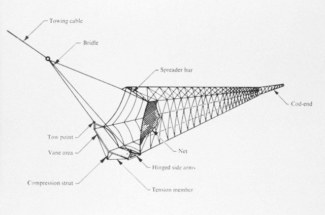 Figure 7 (continued.) Plan of the original model of the Isaacs-Kidd trawling net. Picture
