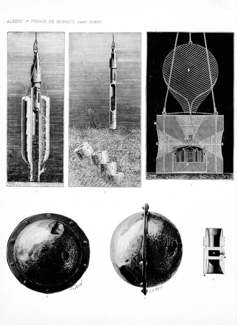 A variety of types of equipment and fittings including the lock sounder of the HIRONDELLE, figures 1 and 2; metallic fish trap with electric lamp devi Picture