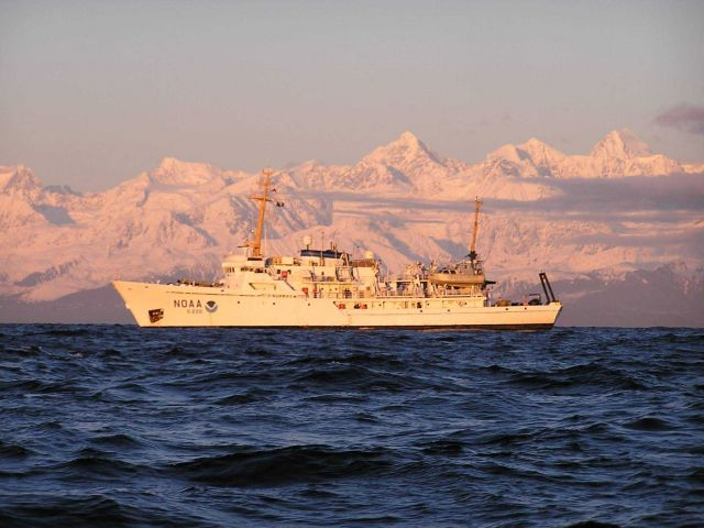 NOAA Ship FAIRWEATHER in the northeast Pacific Ocean off the Fairweather Range. Picture