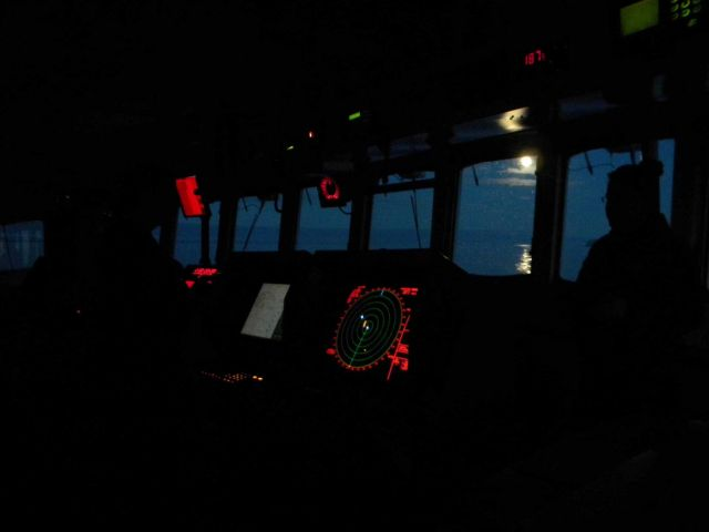 Bridge watch at night on the NOAA Ship FAIRWEATHER in the Chukchi Sea Picture