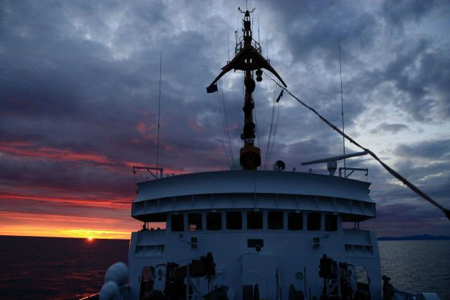 Looking aft to a dramatic sunset. Picture