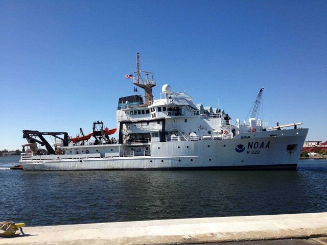 NOAA Ship REUBEN LASKER upon delivery at Pascagoula shipyard. Picture