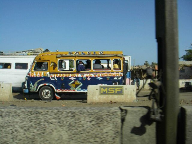 A bus on the outskirts of Dakar. Picture