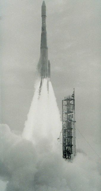Delta 37 rocket propelling ESSA II into orbit. Picture