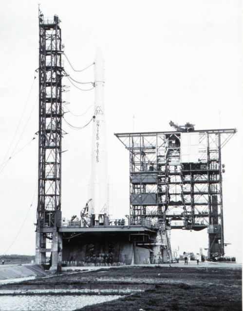 The Delta 37 rocket ready to launch ESSA II Picture