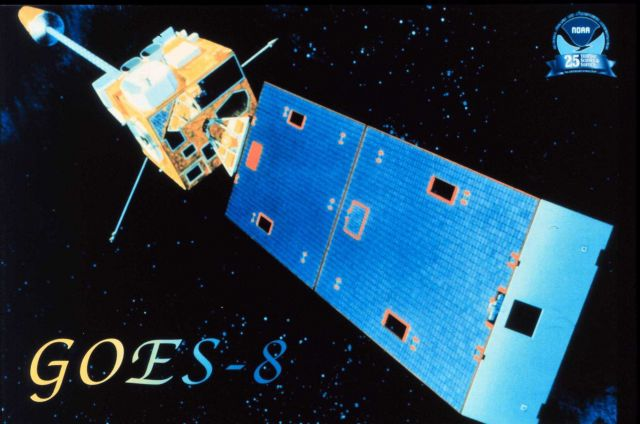 An artist's rendition of the GOES-8 satellite. Picture