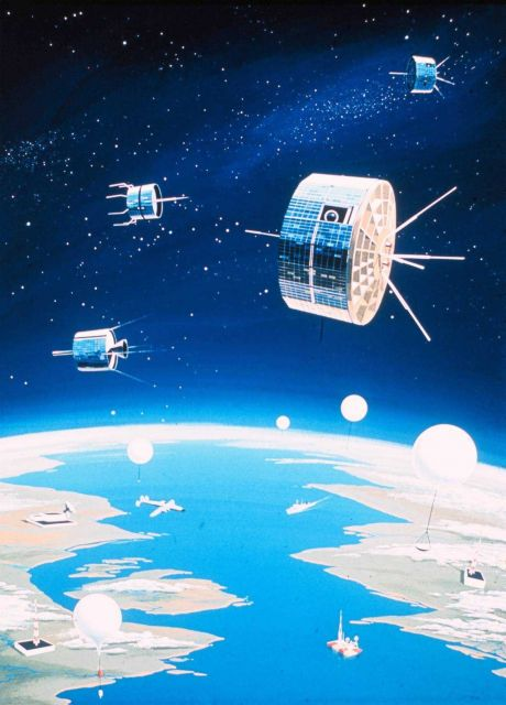 An artist's conception of a fully integrated environmental monitoring system including satellites, balloons, ships, aircraft, buoys, and data receptio Picture