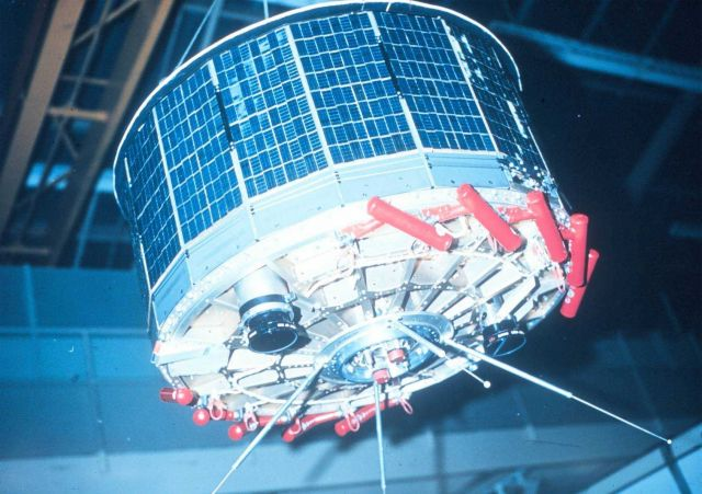 An early TIROS satellite - later models had cameras mounted on sides. Picture