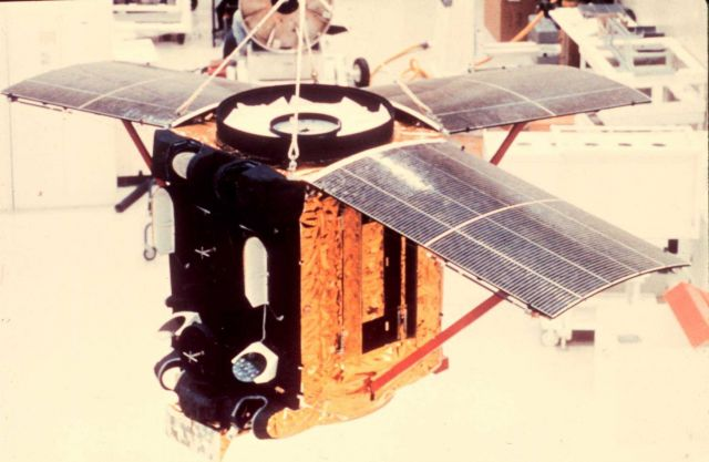 An ITOS satellite being readied for launch. Picture