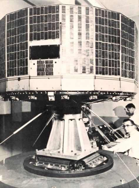 TIROS I satellite on test stand during preliminary test stage Picture